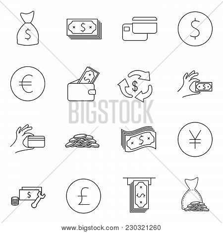 Simple Set Of Money Related Vector Line Icons. Contains Such Icons As Wallet, Atm, Bundle Of Money,
