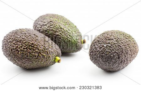 Three Avocado Isolated On White Background Green Brown Alligator Pear