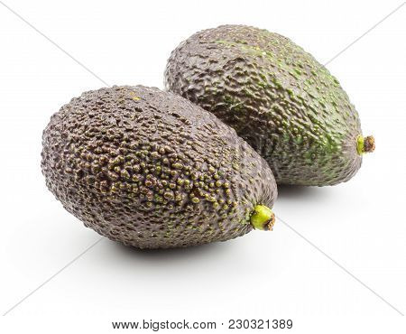 Two Avocado Isolated On White Background Ripe Green Brown Alligator Pear