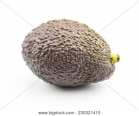 One Avocado Isolated On White Background Ripe Green Brown Alligator Pear