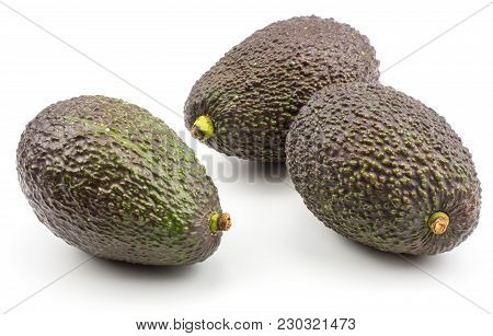 Three Green Brown Avocado Isolated On White Background Ripe Alligator Pears