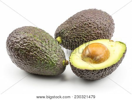 Green Brown Avocado Isolated On White Background Two Ripe Alligator Pears And One Sliced Section Hal