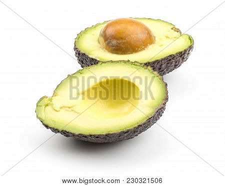 Sliced Green Brown Avocado Isolated On White Background Two Alligator Pear Halves With A Seed
