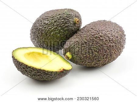 Two Avocado With One Half Without Seed Isolated On White Background Ripe Green Brown Alligator Pear