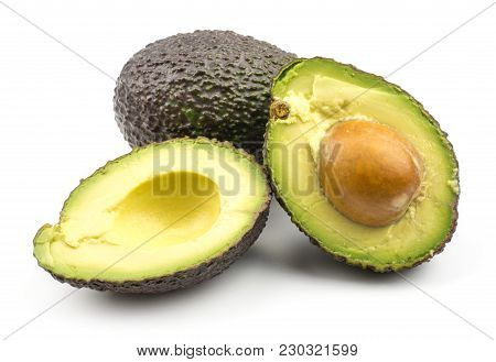 One Avocado And Two Sliced Halves Isolated On White Background Ripe Green Brown Alligator Pear