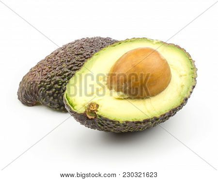 One Avocado And Section Half With A Seed Isolated On White Background Ripe Green Brown Alligator Pea