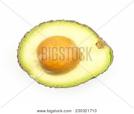 One Avocado Half With A Seed Top View Isolated On White Background Ripe Green Brown Alligator Pear