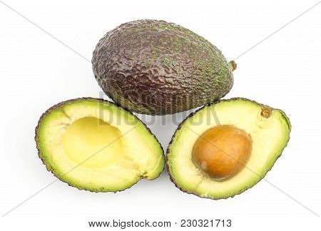 Avocado Green Brown Top View Isolated On White Background Ripe Alligator Pear With Two Sliced Halves