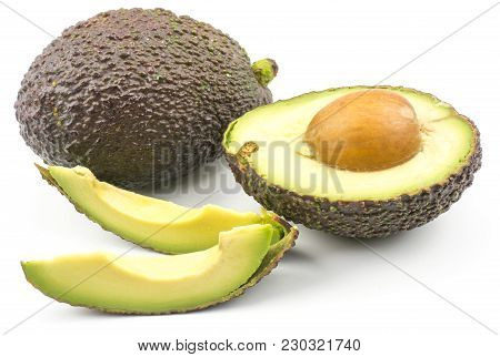 Green Brown Avocado Set Isolated On White Background Ripe Alligator Pear One Whole One Half With A S