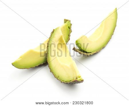 Three Avocado Cut Slices Isolated On White Background Ripe Green Brown Alligator Pear
