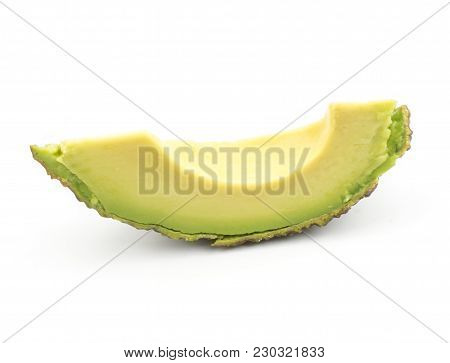 One Avocado Fresh Cut Slice Isolated On White Background Ripe Green Brown Alligator Pear