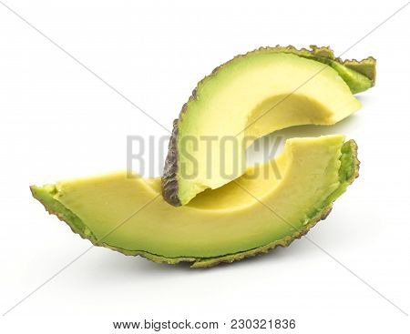 Avocado Two Fresh Cut Slices Isolated On White Background Ripe Green Brown Alligator Pear