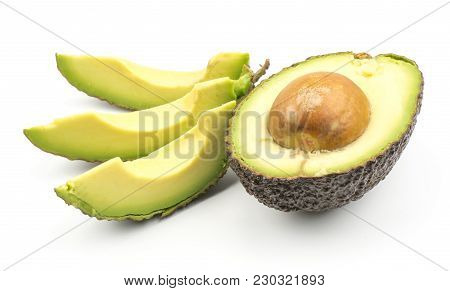 Avocado One Half And Three Slices Isolated On White Background Ripe Green Brown Alligator Pear With
