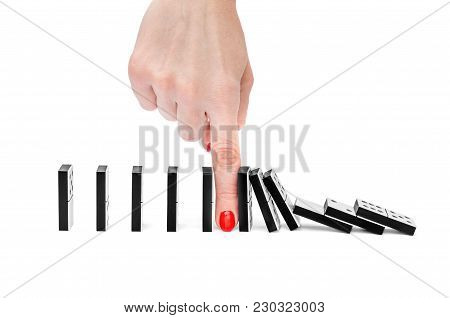 Woman's Hand Stopping Domino Effect On White Background.