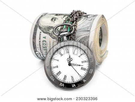 Rolled Up Dollar Bills With Pocket Watch On White.