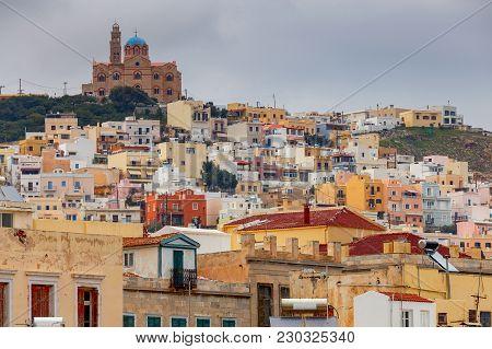 View Of The City Ermoupolis. Greece. Syros Island