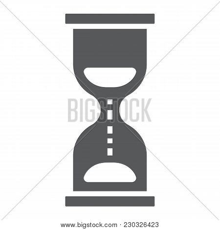 Hourglass Glyph Icon, Development And Business, Deadline Sign Vector Graphics, A Solid Pattern On A