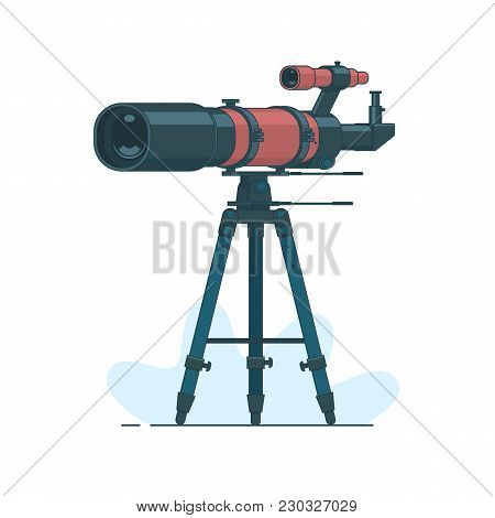 Astronomy. Astronomy Mirror Telescope. Discovery Concept.telescope On Support To Observe Stars. Astr