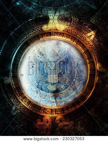 Maya Calendar And Dollar In Cosmic Space