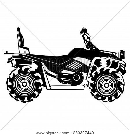 Vector Illustration Of Quad Bike Isolated On White Background. All-terrain Vehicle, Black Template,