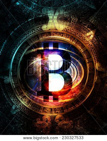 Bitcoin Cryptocurrency Concept And Maya Calendar, Graphic Collage In Cosmic Space