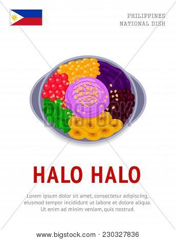 Halo Halo. National filipino dish. View from above. Vector flat illustration. poster