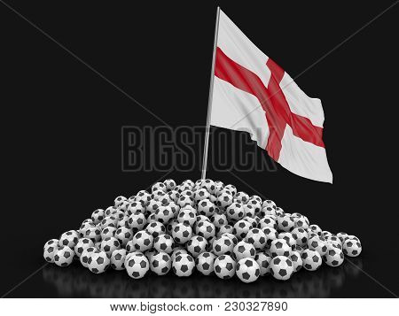 3d Illustration. Soccer Footballs With English Flag. Image With Clipping Path