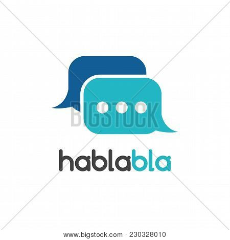 Vector Chat Mobile Application Isolated Vector Logo. Speech Bubble Vector Logotype On White Backgrou