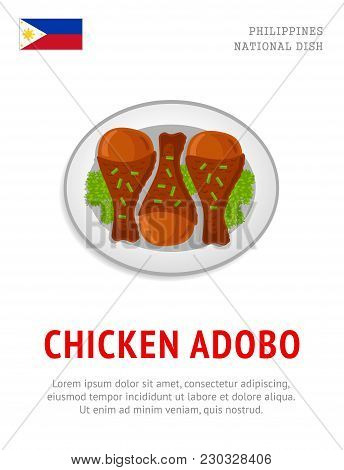 Chicken Adobo. National Filipino Dish. View From Above. Vector Flat Illustration.