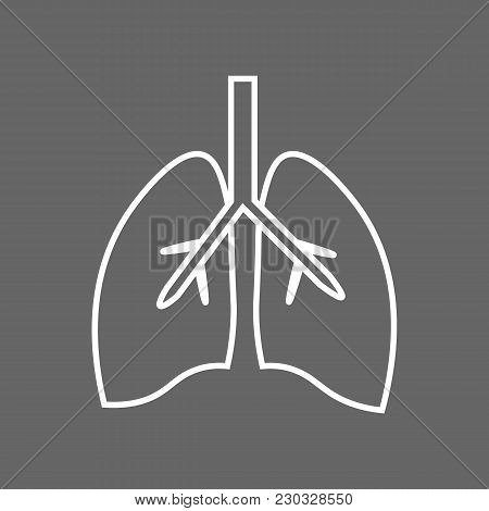 Stylized Human Lungs Anatomy Line Icon. 10 Eps