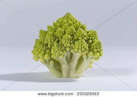 Close Up Of A Fresh Romanesco Cauliflower Florets. Selective Focus