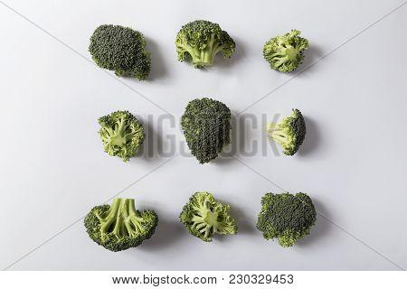 Top View Of A Fresh Organic Broccoli Florets. Selective Focus