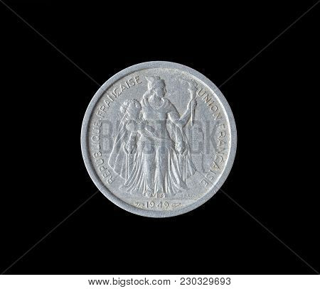 Obverse Of Two Franc Coin Made By French Oceania 1949
