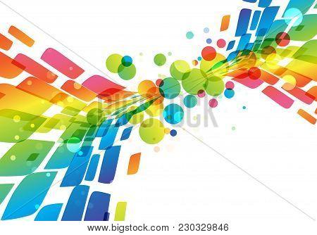 Rainbow Abstract Background, Vivid Splash On White