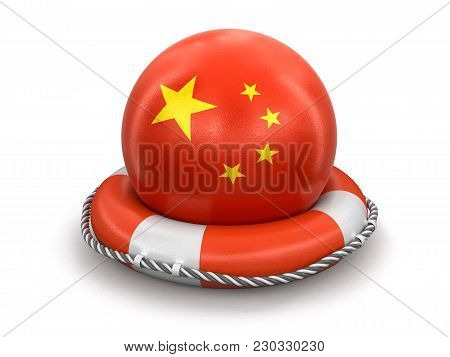 3d Illustration. Ball With Chinese Flag On Lifebuoy. Image With Clipping Path