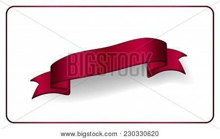 Red Ribbon 3d Banner. Satin Glossy Bow Blank. Design Label Scroll Ribbon Blank Element Isolated On W