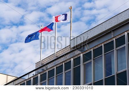 Prague, Czech Republic - March 9 2018: Ceska Televize Public Television Broadcaster Company Logo On