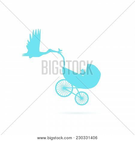 Illustration Of A Baby Stroller Being Carried By A Stork Isolated On A White Background.