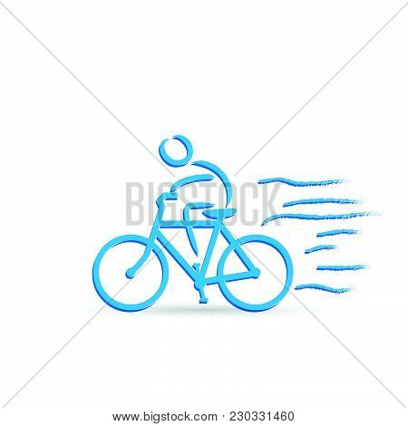 Illustration Of A Bicycle And Rider Design Isolated On A White Background.