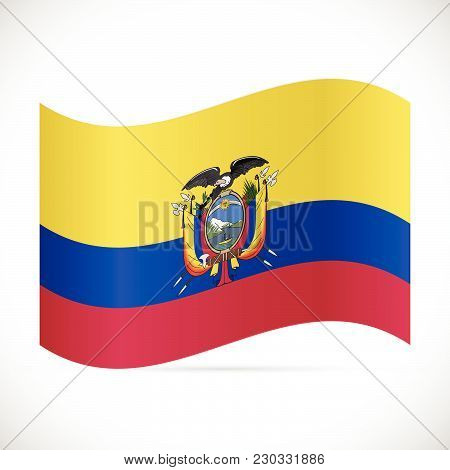 Illustration Of The Flag Of Ecuador Isolated On A White Background.