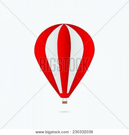 Illustration Of A Hot Air Balloon Isolated On A White Background,