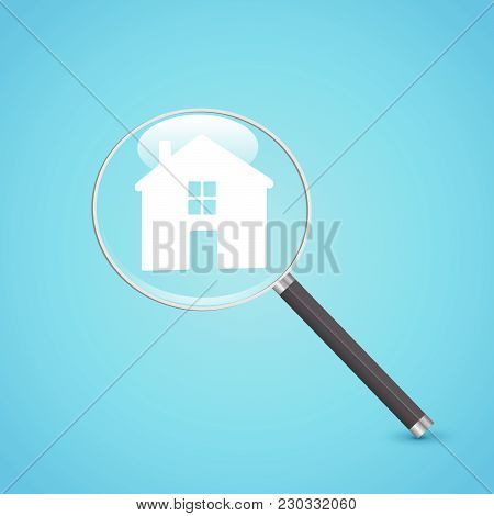 Illustration Of A Magnifying Glass And House Icon On A Colorful Blue Background.