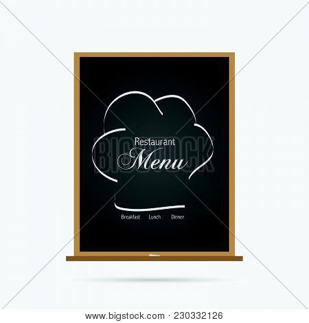 Illustration Of A Chalboard Menu For A Restaurant Isolated On A White Background.