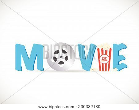 Illustration Of A Movie Text Image Isolated On A White Background.