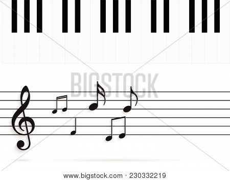 Illustration Of Piano Keys And Music Notes .isolated On A White Background.