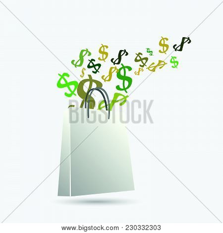 Illustration Of A Shopping Bag With Dollar Signs Isolated On A White Background.