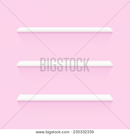 Illustration Of White Shelves On A Pink Wall Background.