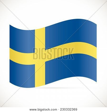 Illustration Of The Flag Of Sweden Isolated On A White Background.