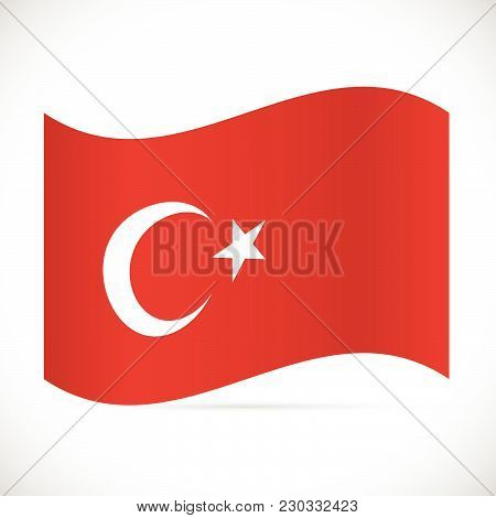 Illustration Of The Flag Of Turkey Isolated On A White Background.