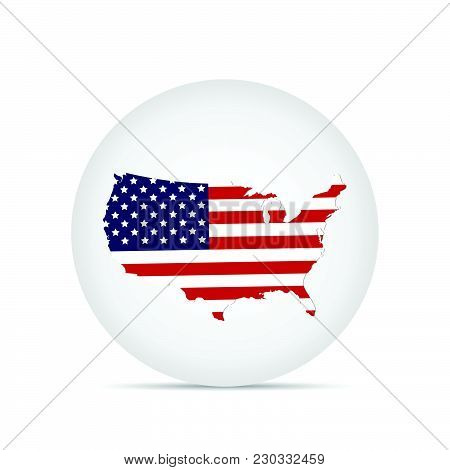 Illustration Of The Flag Of The United States Of America On A Button.